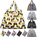 Reusable Grocery Bags, KINGMAS 5 Pack Eco-Friendly Folding Tote Shopping Bag fits in Pocket, Washable Waterproof Nylon holds Heavy Groceries Pouch Bags
