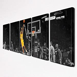 Buzzer Beater In the Lakers vs Heat Game by Kobe Bryant at Staples Center Wall Art Painting on Canvas 5 Panels Framed Posters and Prints Artwork Home Bedroom Office Decor Ready to Hang(60''Wx20''H)