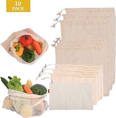 10PCS Reusable Produce Bags Organic Cotton Vegetable Bags Mesh Bags Drawstring