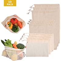 POWERbeast Reusable Product Bags, Organic Cotton Mesh Bag for Fruit, Vegetables, Grocery, Transport, Toys & Store Lightweight Drawstring Bags Zero-Waste Organic Bag, Set of 10(3S, 3M, 3L, 1cloth bag))