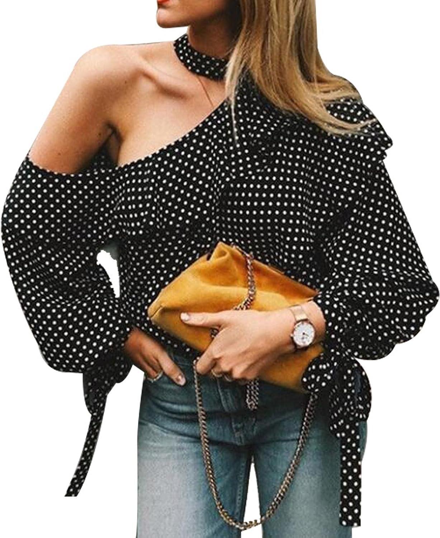 96a5f95a06f Women\'s Blouse Polka Dot Ruffle Flounce Long SleeveAsymmetric Tee Tops  Polka Dot Pattern/Off the shoulder/Chiffon/Halter/Lantern Sleeve/AsymmetricPerfect  ...