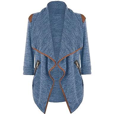 DEELIN Invierno De La Mujer Tejer Moda Casual Manga Larga Irregular Superior Chaqueta Cardigan Jacket XL: Amazon.es: Ropa y accesorios