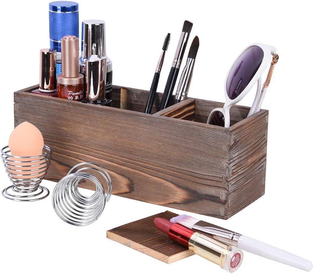 Wood Makeup Brush Holder Organizer with 2 Pack Beauty Sponge Holder, 3 Adjustable Slots Cosmetic Brush Storage, Eyeliner Eyebrow Storage Cosmetic Organizer
