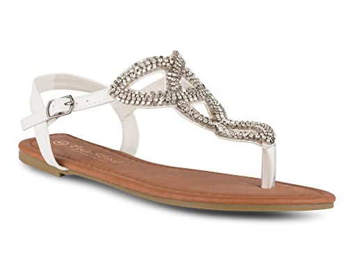 fb23e0e4dd79c Twisted Women s Daisy Faux Leather T-Strap Sandal with Rhinestone Accents -  White