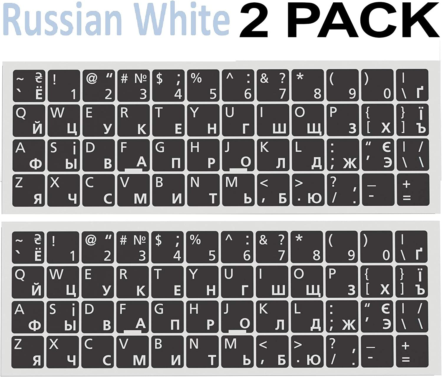 Universal Russian-English Keyboard Stickers - 2 PCS - Replacement Ergonomic Cyrillic None Transparent PC Large White Lettering Black Background for Notebook Desktop Computer Laptops