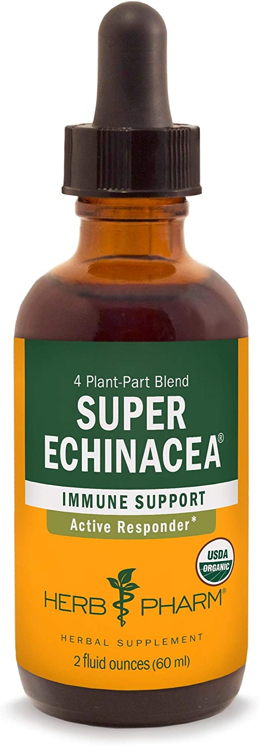 Herb Pharm Certified Organic Super Echinacea Liquid Extract for Active Immune System Support - 2 Ounce