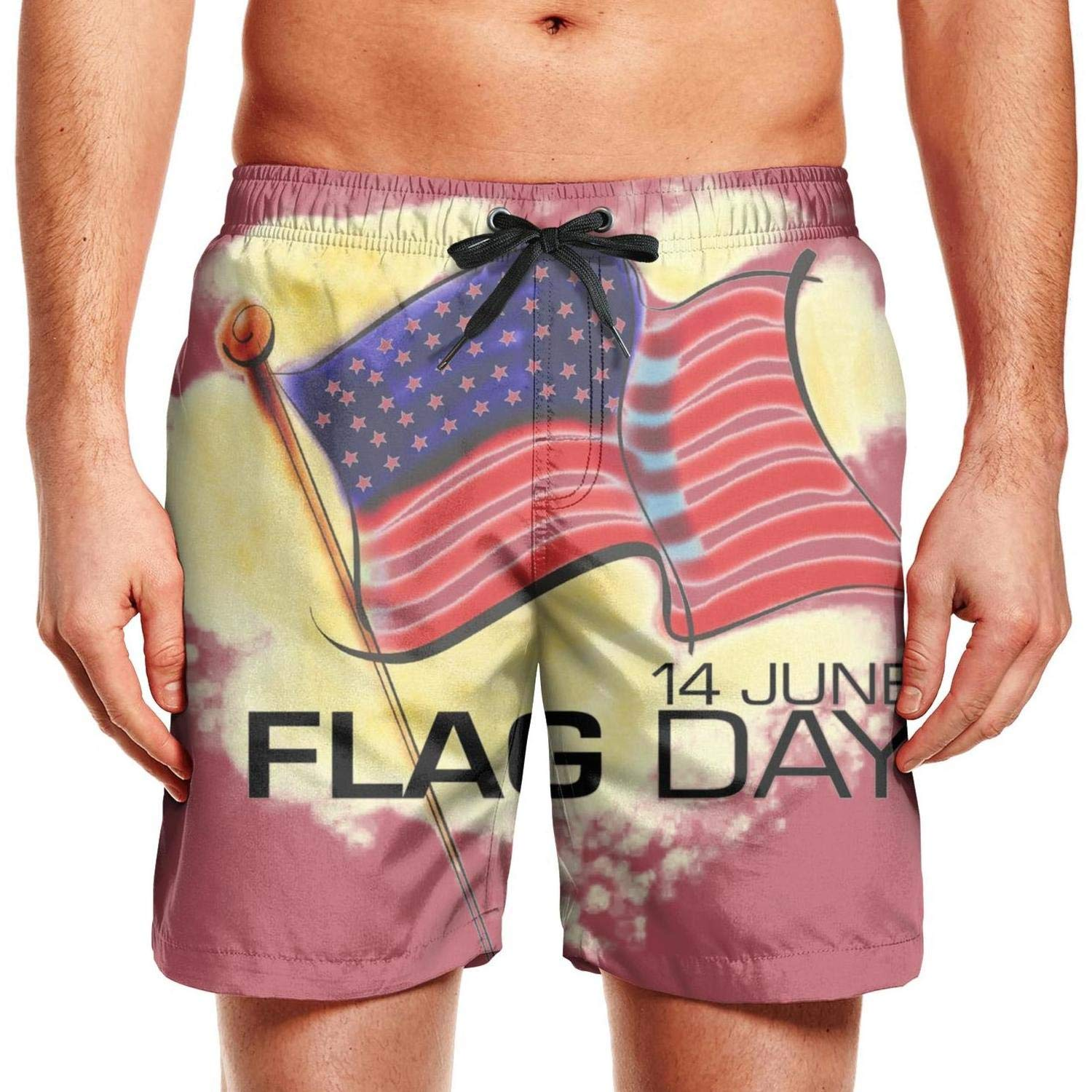 Quick-Dry Mens Beach Shorts 14 June American Flag Day Swim Trunks with Adjustable Drawstring