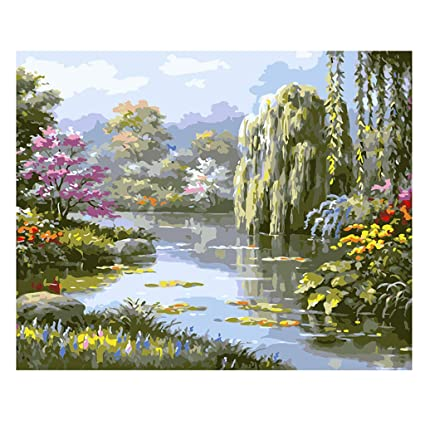 Amazon Com Byynix Scenery Diy Digital Oil Painting Paint By Number