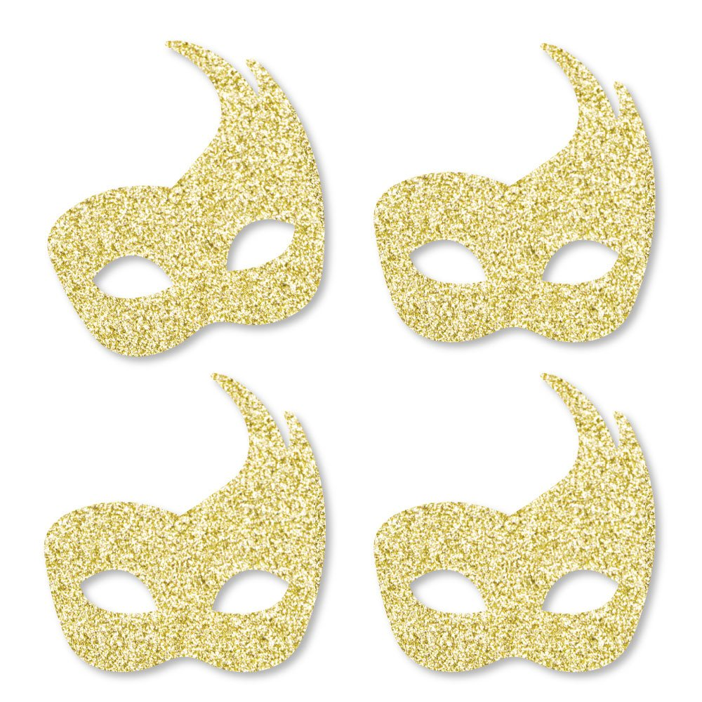 Gold Glitter Masks - No-Mess Real Gold Glitter Cut-Outs - Masquerade Mardi Gras Party Confetti - Set of 24
