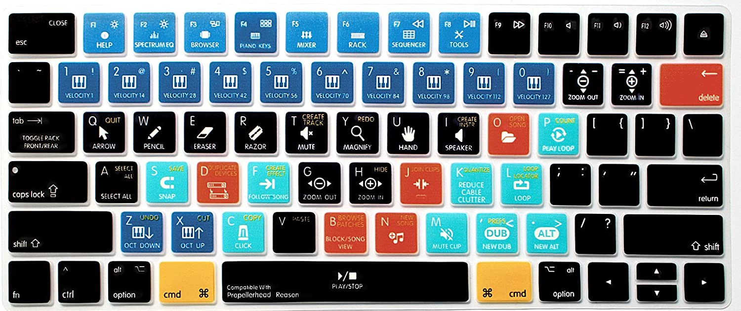 HRH Propellerhead Reason Functional Shortcut Hotkey Keyboard Cover Silicone Skin for Apple Magic Wireless Bluetooth Keyboard MLA22LL/A (A1644,2015 Released) with US Layout