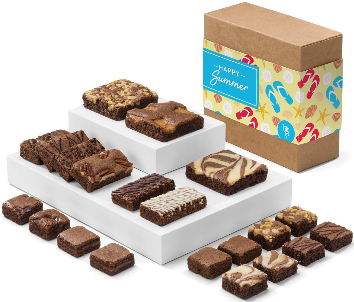 Fairytale Brownies Summer Medley Gourmet Chocolate Food Gift Basket - Full-Size, Snack-Size and Bite-Size Brownies - 21 Pieces - Item CR321SU