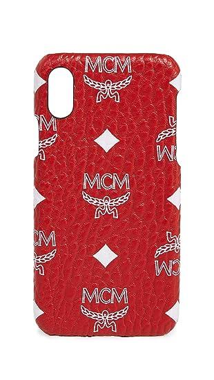 the best attitude 61984 82aed Amazon.com: MCM White Logo Visetos iPhone X Case, Red, One Size ...