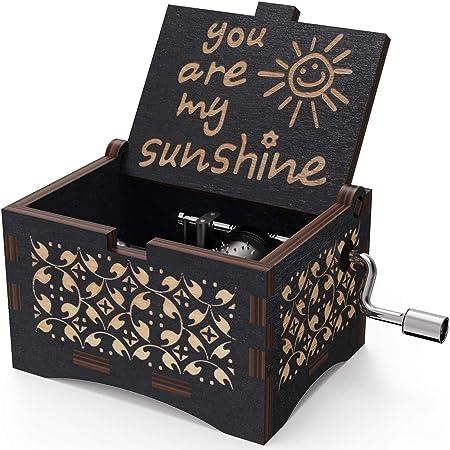 Freudlich 《You Are My Sunshine》 Cajas de música de Madera, Caja Musical de Madera Vintage grabada con láser Regalos para cumpleaños/Navidad/día de San Valentín (Black): Amazon.es: Hogar