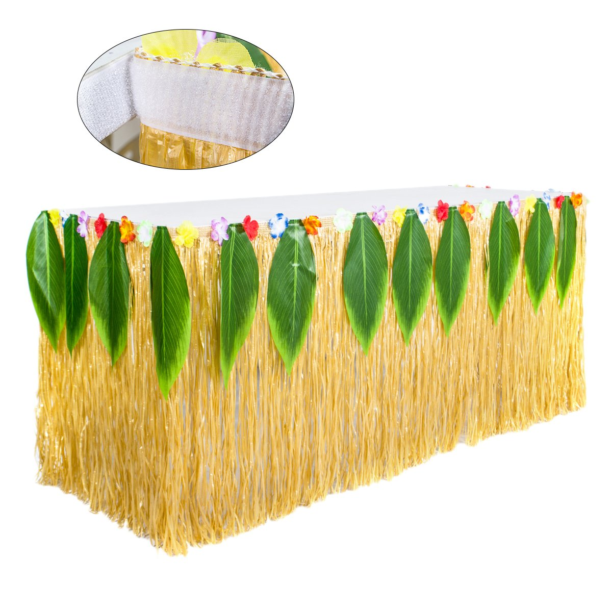 Yellow Hawaiian Table Skirt Luau Grass Table Skirt Raffia Table Skirt String Hibiscus Leis Silk Flower for Tabletop Decoration Hawaiian Tropical Luau Tiki Party Decorations Supplies