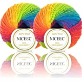 2 Skeins Rainbow Soft Yarn 100% Wool Gradient Multi Color Yarn for Crocheting Knit Total Length 180m×2(196yds×2,50g×2)-11