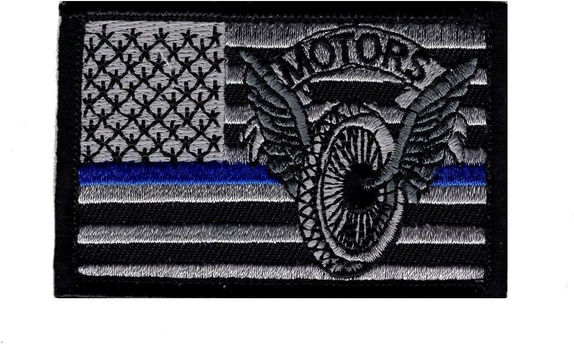 Policía Aplicación De La Ley Motorcycle Trooper delgada línea azul bandera de Estados Unidos gancho parche: Amazon.es: Juguetes y juegos