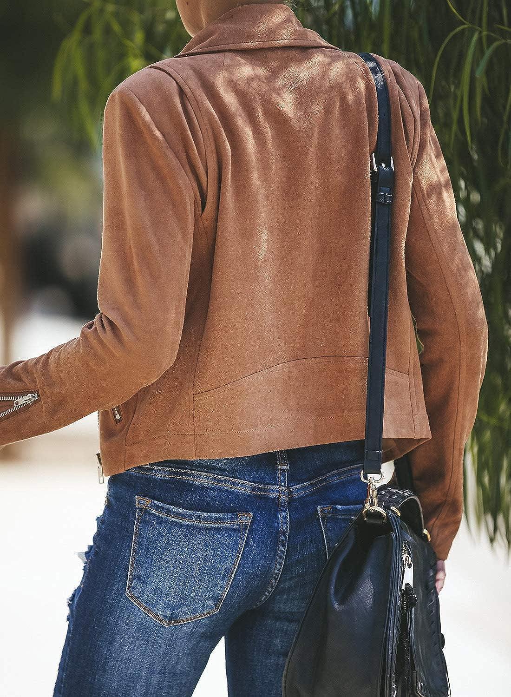 GOSOPIN Women Faux Leather Motorcycle Biker Jacket Short Coat