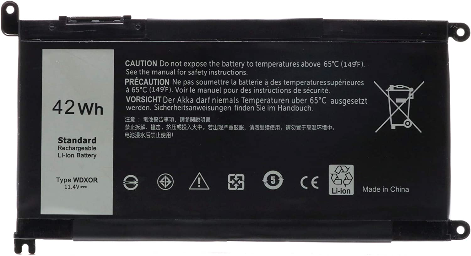 WDX0R Laptop Battery for Dell Inspiron 15 5000 7000 Series 5565 5567 5568 5578 7560 7569 7570 7579 Notebook Fits 3CRH3 T2JX4 FC92N CYMGM - 4Cell/11.4V/42Wh