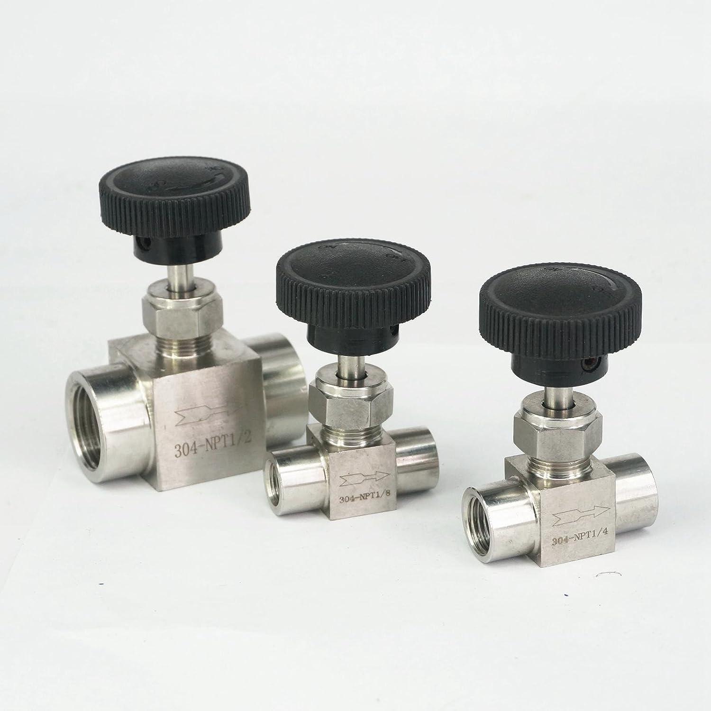 KTS 1//8 1//4 1//2 NPT Female Needle Valve 304 Stainless Steel Flow Control Thread Specification: 1//2