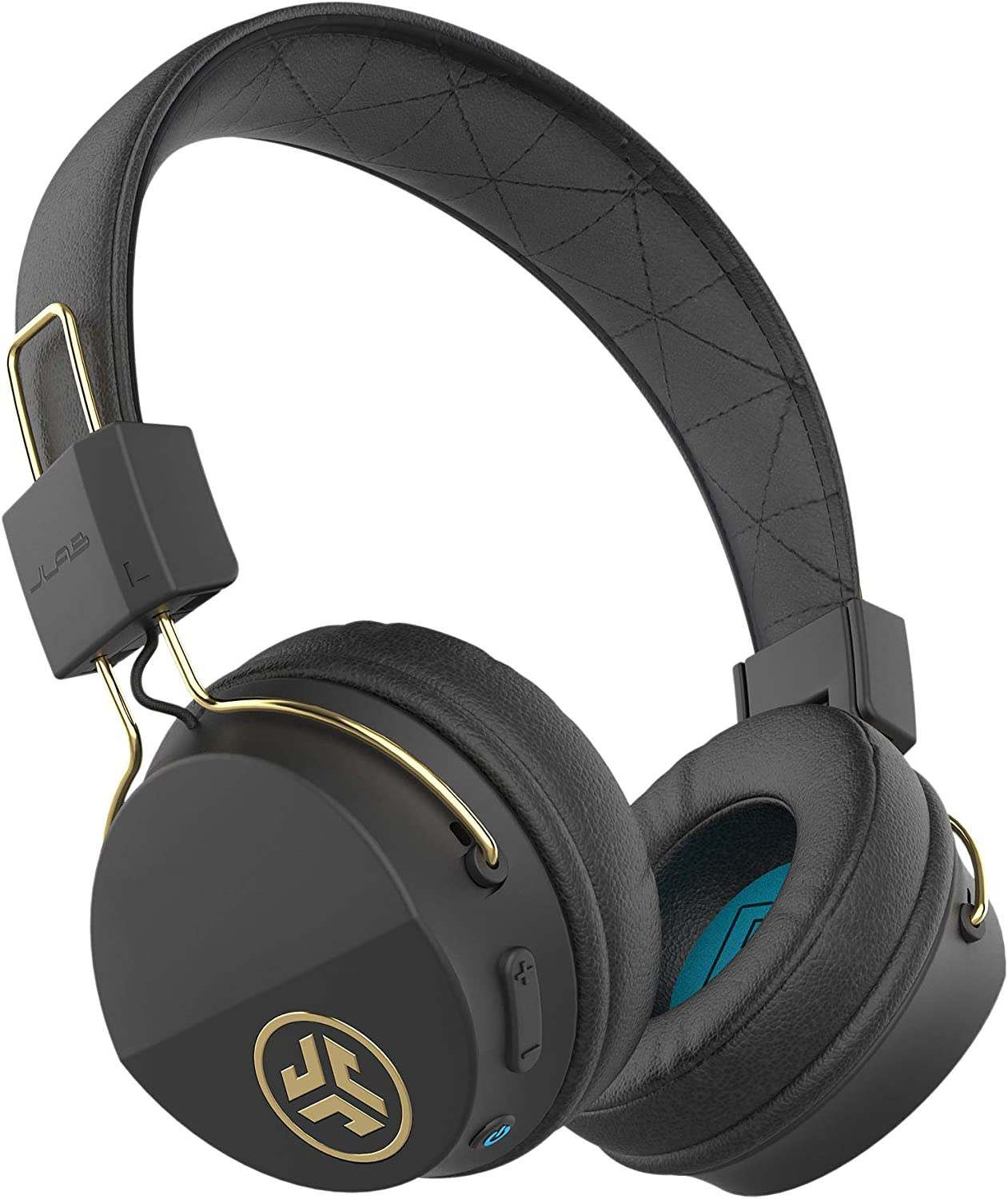 JLab Audio Studio ICON Bluetooth Wireless On-Ear Headphones Ultra-Plush Cushions Wireless Headphones 13 Hour Bluetooth Playtime 40mm Neodymium Drivers Track Control Microphone Black Gold