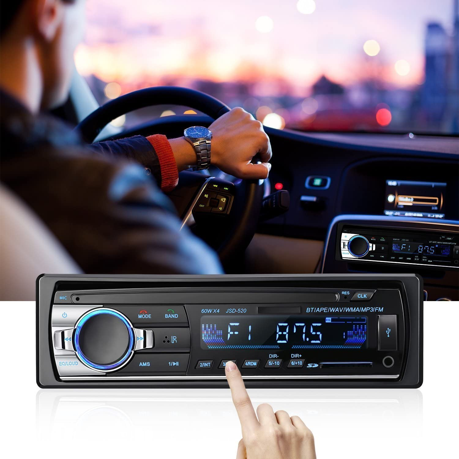 Bluetooth Autoradio Suaver Single Din Auto Audio Stereo Fm Radio Auto Mp3 Player Usb Sd Aux Freisprecheinrichtung Mit Fernbedienung Digitaler Medienempfänger Jsd 520 Beleuchtung