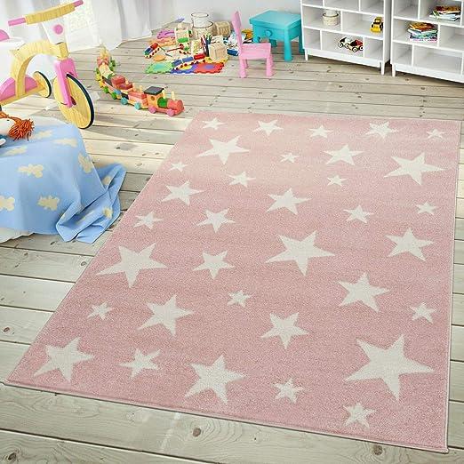 Gr/ö/ße:80x150 cm TT Home Alfombra Infantil De Juego Cuadros Puntos Estrella Luna Pastel Rosa Blanco Gris