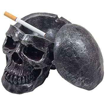 Spooky Human Skull Ashtray With Cover For Scary Halloween Decorations And Decorative Skulls Skeletons Figurines