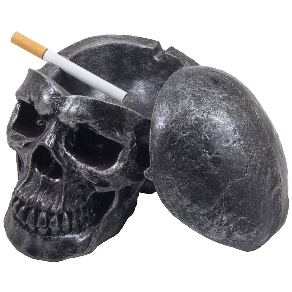 Spooky Human Skull Ashtray with Cover for Scary Halloween Decorations and Decorative Skulls & Skeletons Figurines As Gothic Smoking Room Decor Gifts for Smokers by Home-n-Gifts by Home 'n Gifts