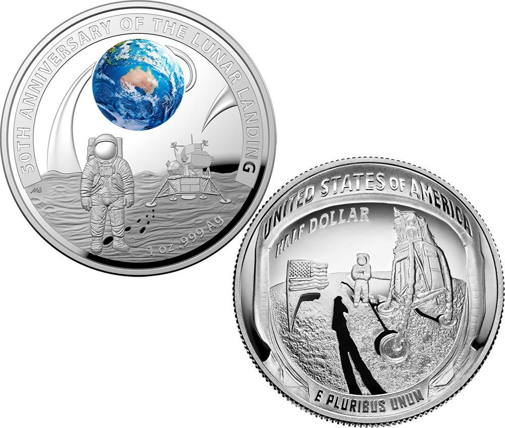 últimos estilos Power Coin Moon Landing 50 50 50 Aniversario Dome Set 2 Monedas Plata 5  Australia USA 2019  grandes ahorros