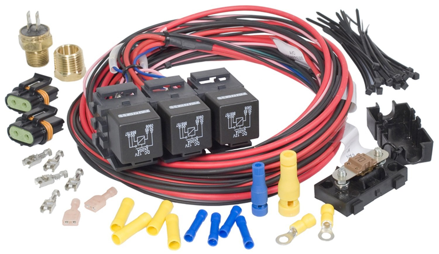 Painless 30117 Dual Activation Fan Relay Kit On Wiring Block 185 Off 175 1 Pack Automotive