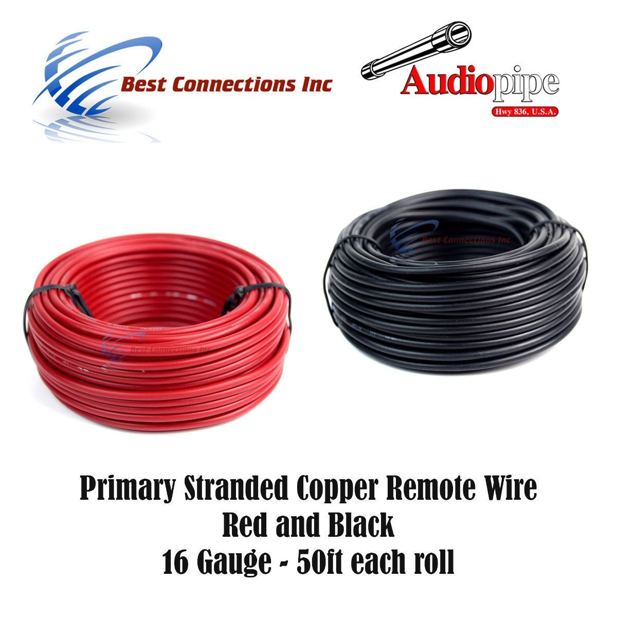Best Connections 16 GAUGE WIRE RED & BLACK POWER GROUND 50 FT EACH PRIMARY STRANDED COPPER CLAD by Best Connections (Image #1)