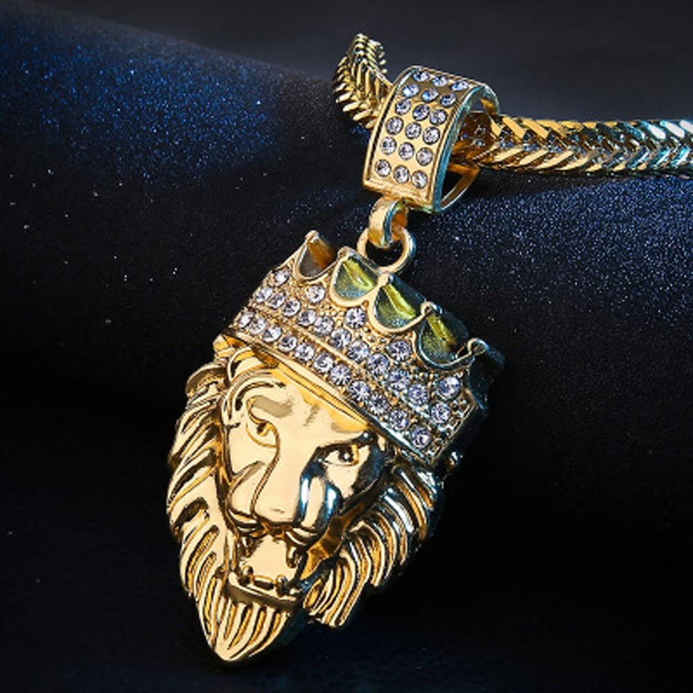 Moonite Men Lion Head Pendant Necklace Full Iced Out Rhinestone Lion Tag Pendant Cuban Chain Hip Hop Necklace