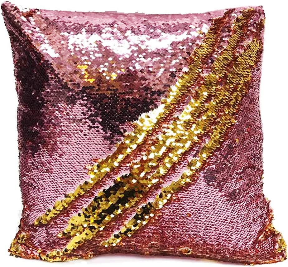 Fennco Styles Glam Mermaid Sequin Throw Pillow – 16 x16 Cover Insert, Gold-Pink