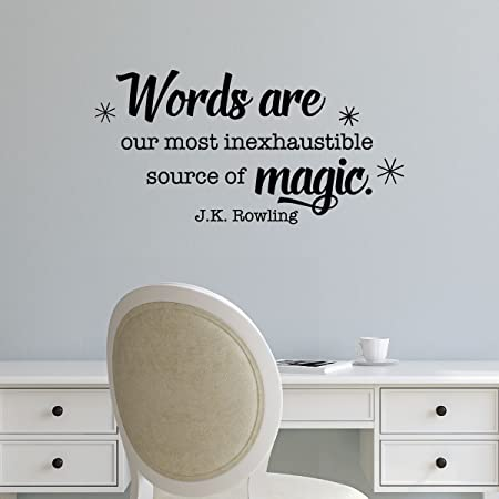 wall quote decal words are magic jk rowling reading writing