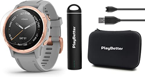 Garmin Fenix 6S Sapphire Rose Gold with Gray Band Power Bundle with HD Screen Protectors, PlayBetter Portable Charger Protective Hard Case PulseOx, ClimbPro, Maps, PacePro, Spotify, Music