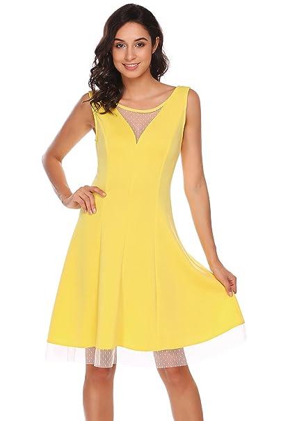 ACEVOG - Vestido - Noche - para mujer amarillo XXL