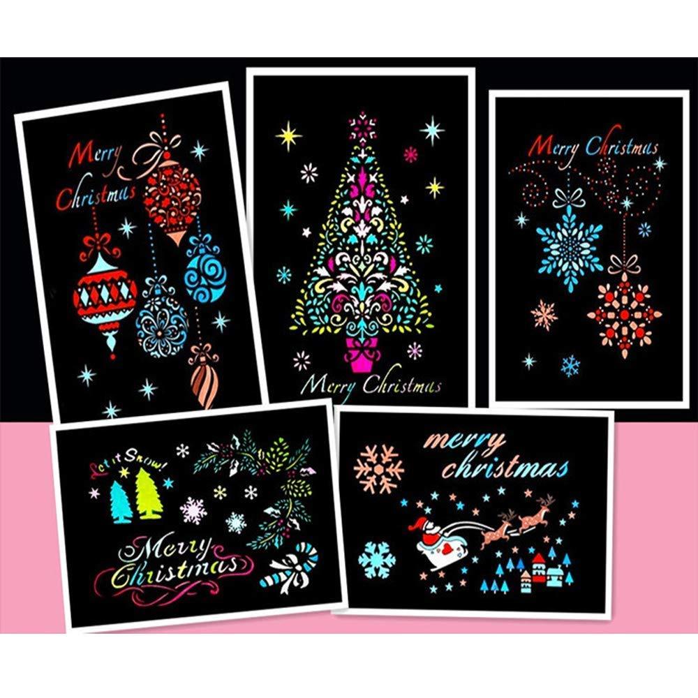 Merry Christmas Stencils Set de 12 plantillas de pintura navideña con 8 unidades de plantillas decorativas para galletas o café: Amazon.es: Hogar