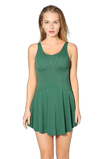 24b98597de4 Saejous Women s One Piece Solid Swimsuit Tummy Control Vintage Swimwear  Green