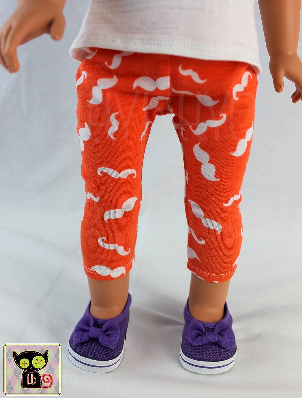 Orange /& White Mustache Print Leggings for 18 Inch Dolls