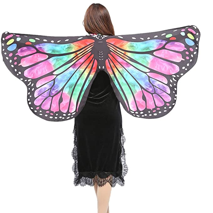 Ladies Adult Soft Fabric Butterfly Wings Fairy Nymph Pixie Costume Accessory Lot