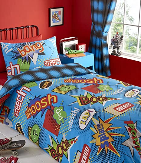 SINGLE Duvet Cover Set Boys Super Hero Action Bedding (Duvet Set (no  Curtains)