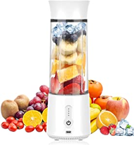 2021 Portable Blender, 16 Oz Single Serve for Juice, Yogurt, Smoothies and Shakes Juicer Cup, 4000mAh Battery With USB Rechargeable Mini Blender with Six Blades,Mini Blender for Sports, Office, Travel, Gym, and Outdoors (white)