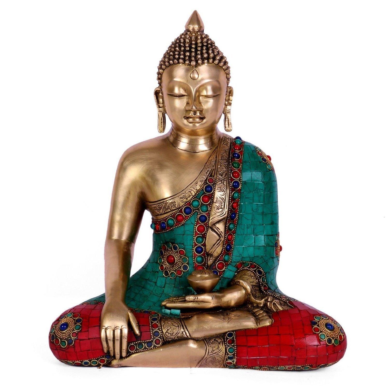 Aone India 15'' Large Bhumisparsha Buddha Metal Brass Sculpture Mudra Buddha Statue + Cash Envelope (Pack Of 10)