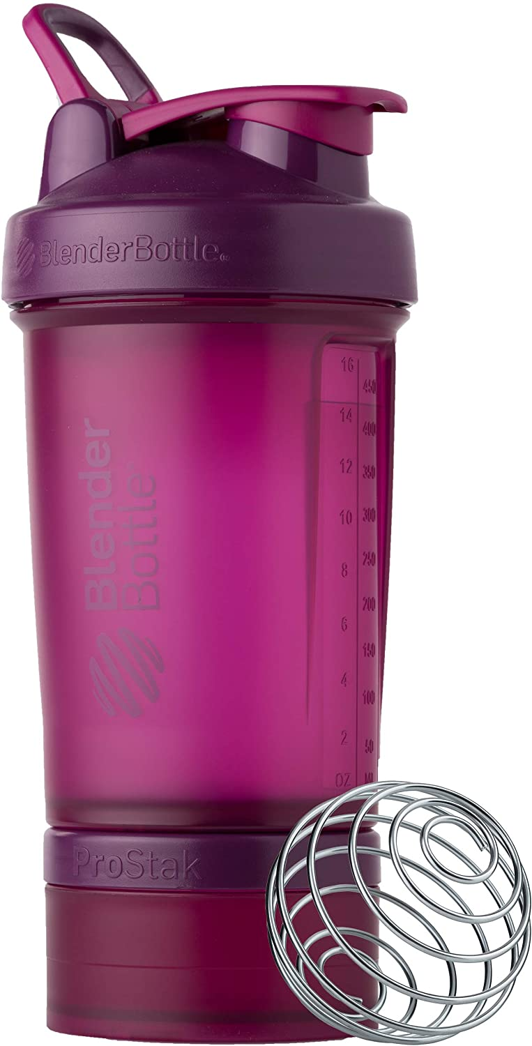 BlenderBottle Shaker Bottle with Pill Organizer and Storage for Protein Powder, ProStak System, 22-Ounce, Plum