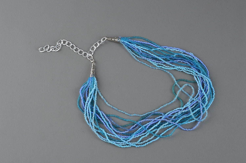 Blue Necklace Made of Beads Handmade Elegant Designer Accessory for Women