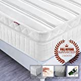 5FT UK King Size Pocket Sprung Mattress with Memory Foam and 3D Breathable Fabric - Multi-Functional 9-Zone Orthopaedic Mattress - 10.6-Inch Deep - More Sizes Available: 2FT6 Small Single / 3FT Single / 4FT small Double / 4FT6 Double / 6FT Super King Size