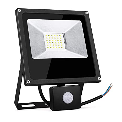 TOPLANET Focos Led 30W Exterior con Sensor Movimiento Foco Proyector LED IP66 Impermeable LED Seguridad Floodlight para Patio/Jardín/Garaje (30w con ...