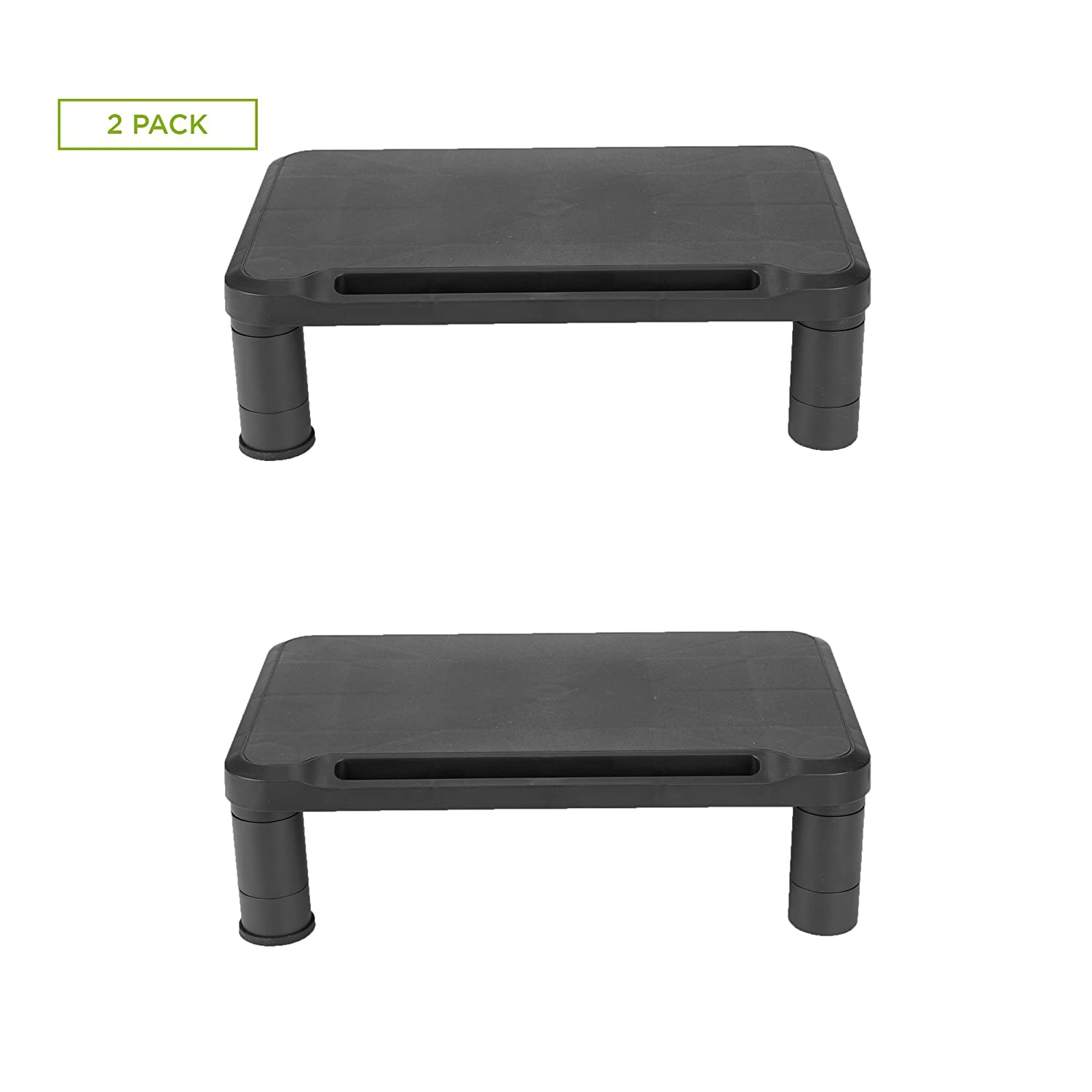 Mind Reader 2SMPLMON-BLK Small Monitor Stand, Durable Plastic Monitor Riser, for Computer Monitor, Laptop, PC, MacBook - 2 Pack, Black