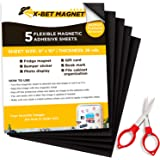 """Magnetic Sheets with Adhesive Backing - 5 PCs Each 8"""" x 10"""" - Flexible Magnetic Paper with Strong Self Adhesive - Sticky Magn"""