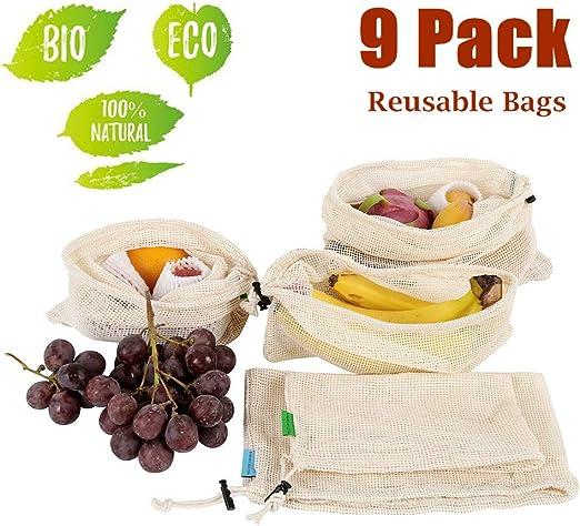 Gem/üsenetz 100/% Bio Baumwolle Waschbar und Atmungsaktiv Ohne BPA 9er Set Obst und Gem/üse Beutel Zero-Waste Plastikfrei Oladwolf Gem/üsebeutel Wiederverwendbar